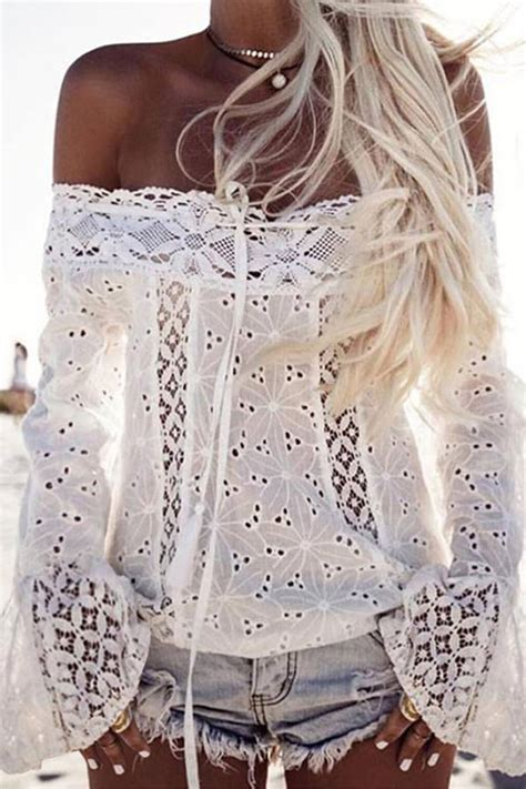 White Off Shoulder Lace Flare Sleeve Chic Blouse @ Womens