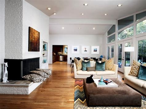Midcentury Modern Living Room and Dining Room Combo With