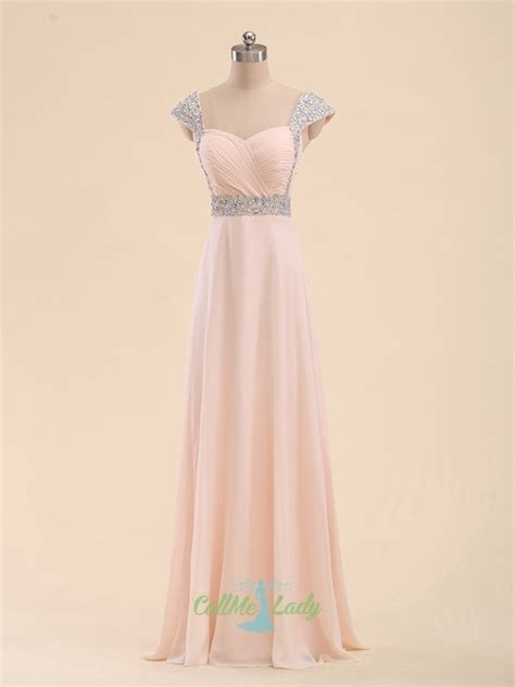 Pink chiffon long prom dress / formal evening dresses with
