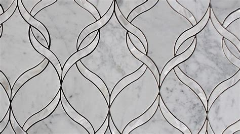 Mother of Pearl and Carrara Marble Water Jet Mosaic Tile
